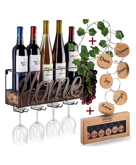 1. Wall Mounted Wine Racks- Bottle & Glass Holder- Cork Storage Store Red, White Champagne- Comes with 6 Cork Wine charms- Home & Kitchen Décor- Storage Rack