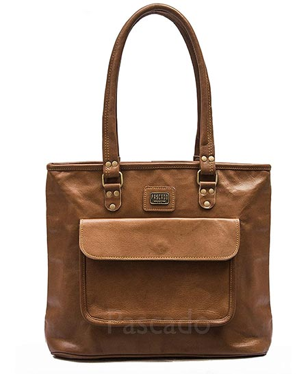 4-PASCADO Genuine Brown Tan with Zipper Leather Tote