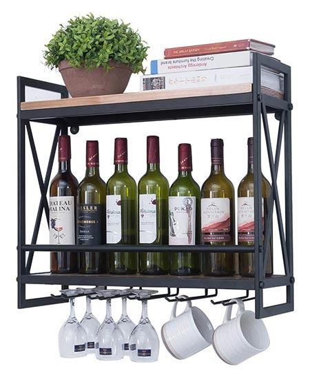 7. Industrial Wine Racks Wall Mounted With 6 Stem Glass Holder, 23.6in Rustic Metal Hanging Wine Holder Wine Accessories, 2-Tiers Wall Mount Bottle Holder Glass Rack, Wood Shelves Wall Shelf