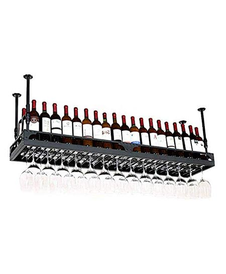 6. Wine Lovers/ Hanging Wine Holder from Ceiling/ Wall Wine Rack for Wine Bottles/ Wall Mounted Wine Bottle Rack/ Floating Wine Shelf and Glass Rack Set Wall Mounted for Kitchen, Dining Room, Bar, Wine Cel