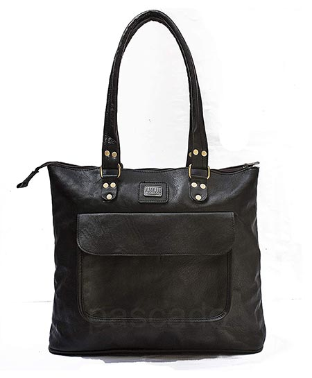 7-PASCADO Black Soft Handmade Women Leather Tote