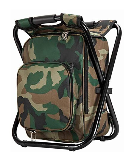 10. Upgraded Large Size 3 in 1 Multifunction Fishing Backpack Chair, Portable Hiking Camouflage Camping Stool
