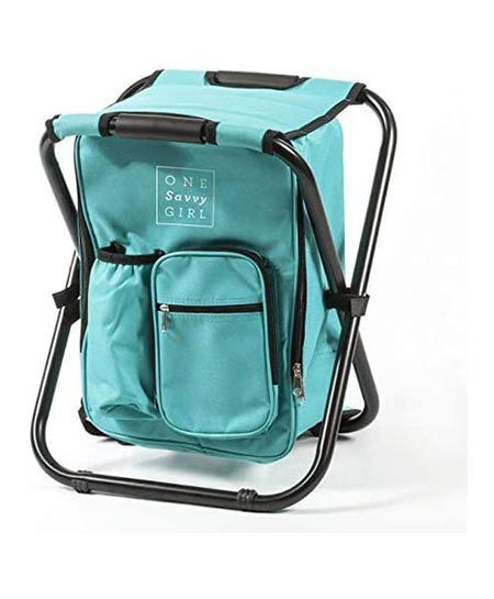 6. One Savvy Ultralight Backpack Cooler Chair- Compact Lightweight and Portable Folding Stool- Perfect for Outdoor Events, Travel, Hiking, Camping, Tailgating, Beach, Parades, and More